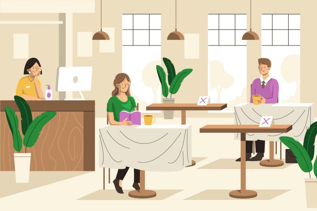 social distancing in a restaurnant