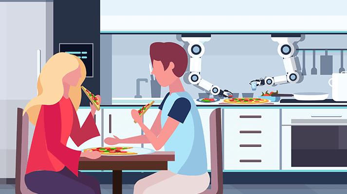 smart robots cooking at restaurants