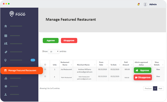 manage featured restaurant