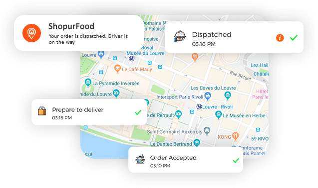 Mobile food ordering app with push notification